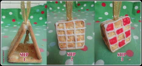 Making Christmas Cream Cracker House