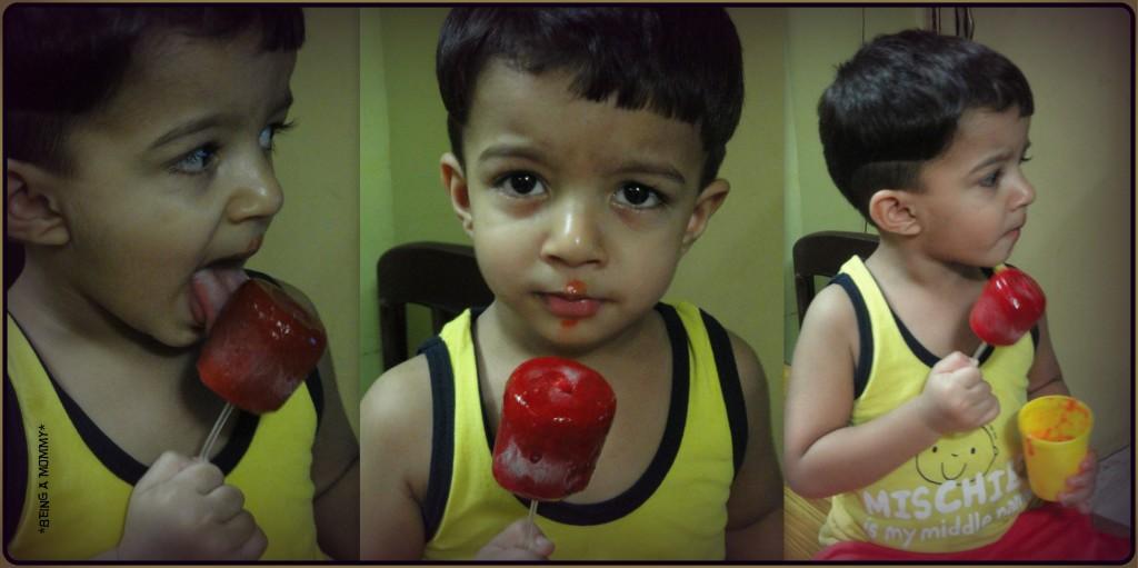 Nabeel enjoying his Strawberry Pops :-)