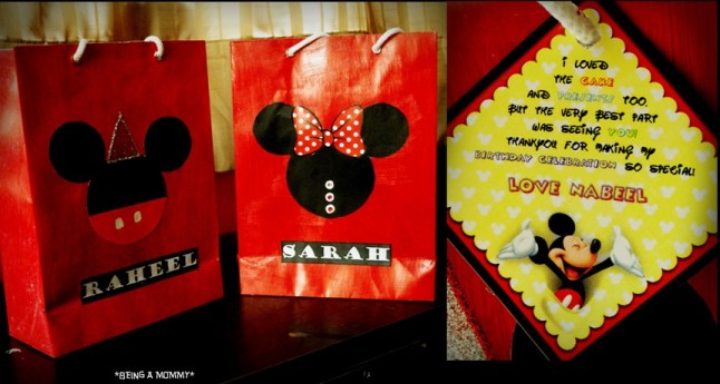 Handmade Mickey Favor Bags & Personalized Thank you Tags